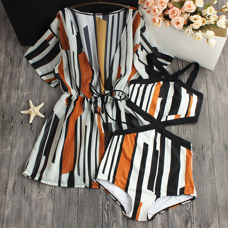 2018 Sexy One Piece Swimsuit Dress Striped Printed High Waist Swimwear Women Cut Out Bodysuit Bathing Suits Monokinis sexy floral print strap one piece swimsuit biquini swimwear bodysuit leotard monokinis women bathing suit ari 19f 4138