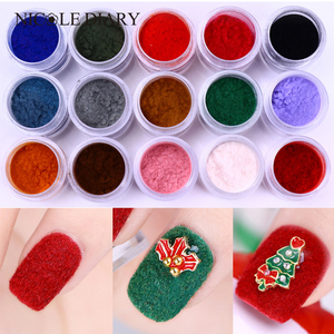 1pc Fuzzy Flocking Velvet Nail Glitter Powder Red Green Nail Art Dust Glitters Nailart Nail Pigment Powder UV Gel