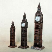 30cm Antique Bronze Big Ben Statue London Landmark Model European Style of Metal Figurine Architecture With Clock Home Decor