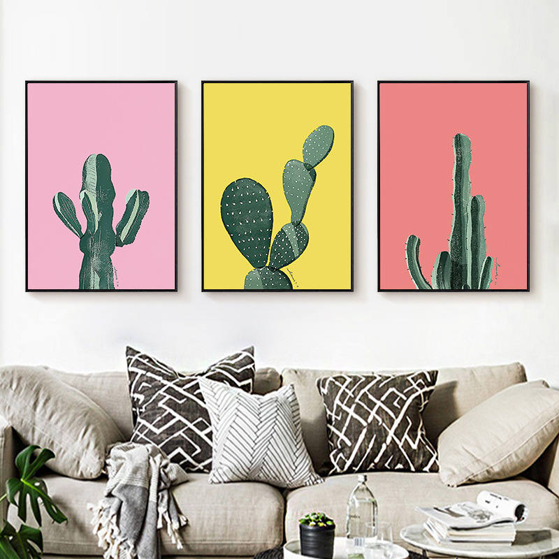 Perfect Energetic Cactus Green Pink Bright Colors Lively Hope Nordic Romantic  Childlike Canvas Painting Picture Wall Posters Home Decor