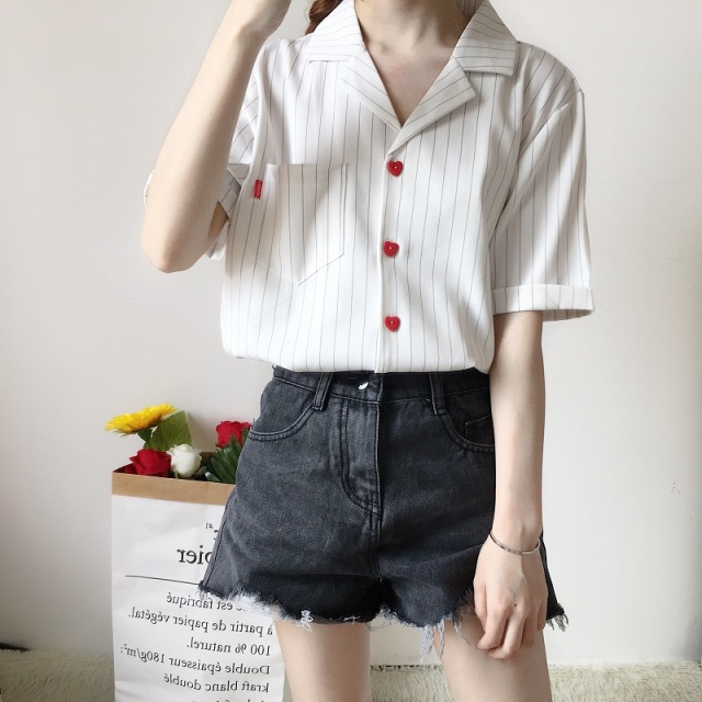 Летние Повседневное полосатый отложной воротник блузки рубашки Chic короткий рукав сердце Однобортный Для женщин блузка 2018 Белый Blusas