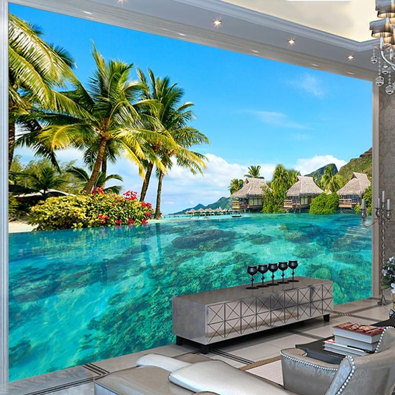HD Maldives Sea View Photo Mural Wallpaper Spatial Extension Personality Wall Mural Wallpaper Living Room Hotel Papel De Parede