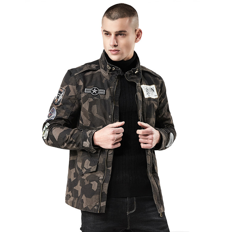 2018 nouveau 4XL hommes Camouflage veste d'automne mode col montant Streetwear coton vestes décontractée manteau hommes haut Ourwear-in Vestes from Vêtements homme    1