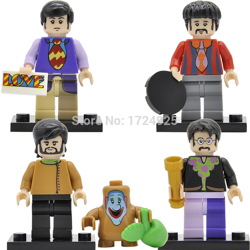 4pcs/set The Beatles Figure John Winston Lennon Paul McCartney George Harrison Ringo Starr Building Blocks Sets Models Toys herbert george wells the war of the worlds
