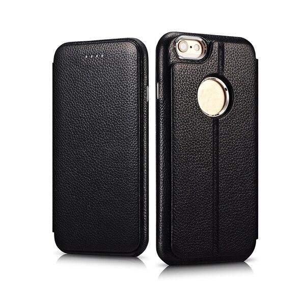ICARER originální kožená litchi vzor 2 v 1 magnetický překlopný kryt pro pouzdro na tělo iPhonu Logo zadní kryt pro iPhone 6s 6 4,7 ''