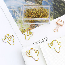 TUTU big size 20pcs/lot gold Cactus Shape Paper Clips Funny Kawaii Bookmark Office School Stationery Marking H0220