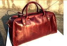 2016 Fashion men business travelling bag vintage leather duffle bag crazy horse leather travel bag