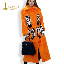 LVCHI Women Noble Print Fox Real Fur Coat 2017 Leather Fur Turn -Down Collar Zebra Denmark X-Long Mink Swan Velvet Mink Coats