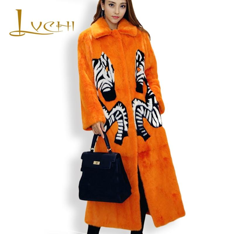 LVCHI Ženy Noble Print Fox Skutečné kožešiny 2019 Kožené kožešiny Turn -Down límec Zebra Dánsko X-Long Mink Swan Velvet Mink Coats
