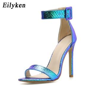 Image 3 - Eilyken Zomer Zilver Blauw Serpentine Peep Toe Hoge Hak Vrouwen Sandalen Sexy Gesp Ankle Wrap Dames Sandalen Club schoenen