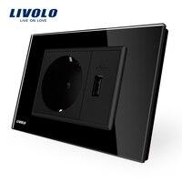 Livolo Two Gang EU Socket USB Socket Black Crystal Glass Panel AC 110 250V 16A Wall