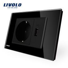 Livolo  Two Gang  EU Socket & USB socket ,Black Crystal Glass Panel, AC 110~250V 16A Wall Power Socket, VL-C9C1EU1U-12
