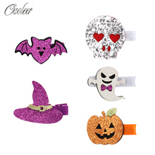 5 Pcs/Lot Glitter Halloween Hairgrips for Girls Pumpkin Ghost Patches Hair Bows Purple/Yellow Shiny Barrettes Accessories