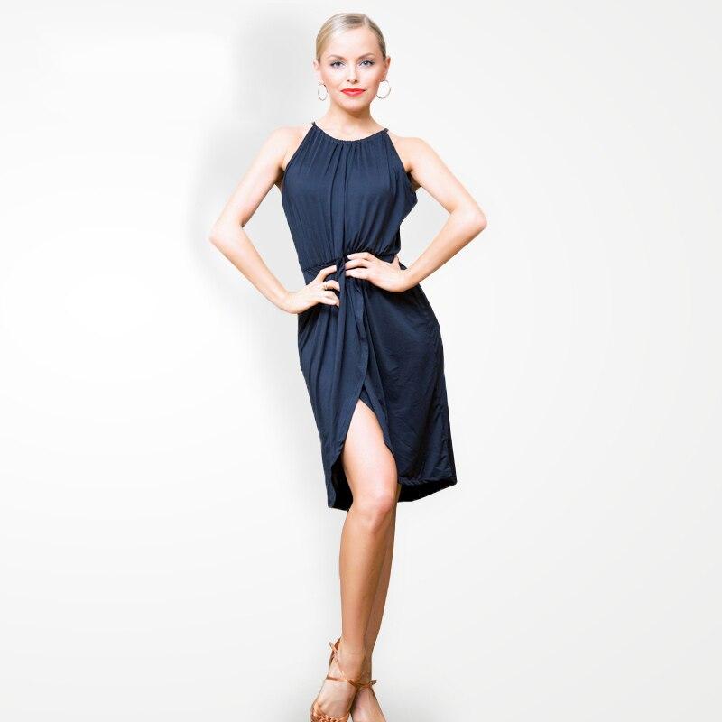 2019 nouvelle robe de danse latine noire Salsa pour une femme Sexy irrégulière femme salle de bal Cha Cha Salsa danse pratique robes DL4023