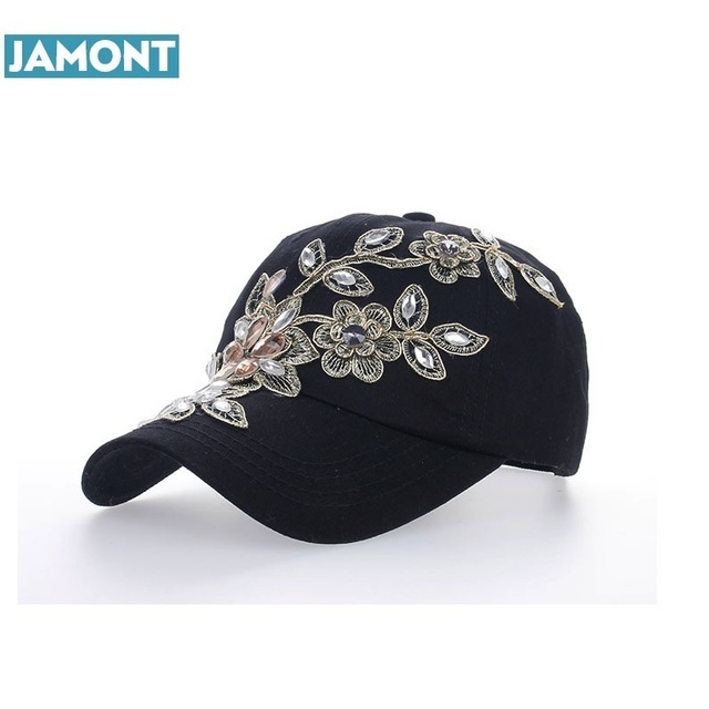 2018 Women Variety Rhinestone Crystal Shining Studded Cotton Denim Visor  Hat Bling Adjustable Baseball Caps Free Shipping aca26192d7a3