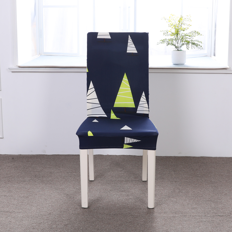 Cartoon Yellow Boat Pattern 1Pc Spandex Elastic Slipcovers Stretch Removable Dining Chair Cover Hotel Banquet Seat Cover Soft