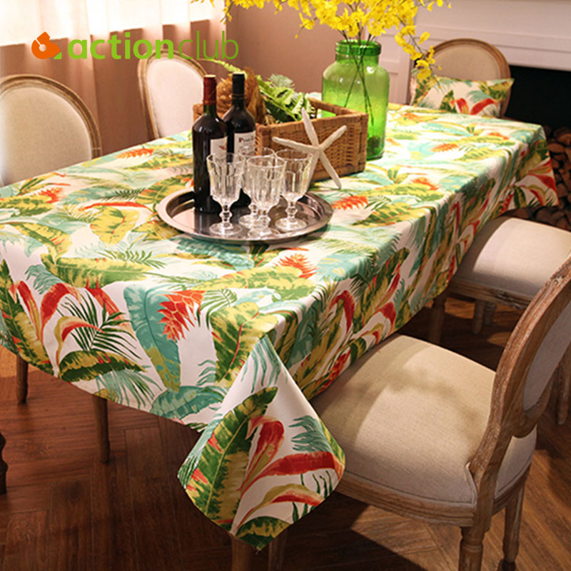 Actionclub Jungle Tablecloth Fabric Nappe Table Cover Rainforest Cotton  Living Room Tablecloth Green Table Cloth Custom