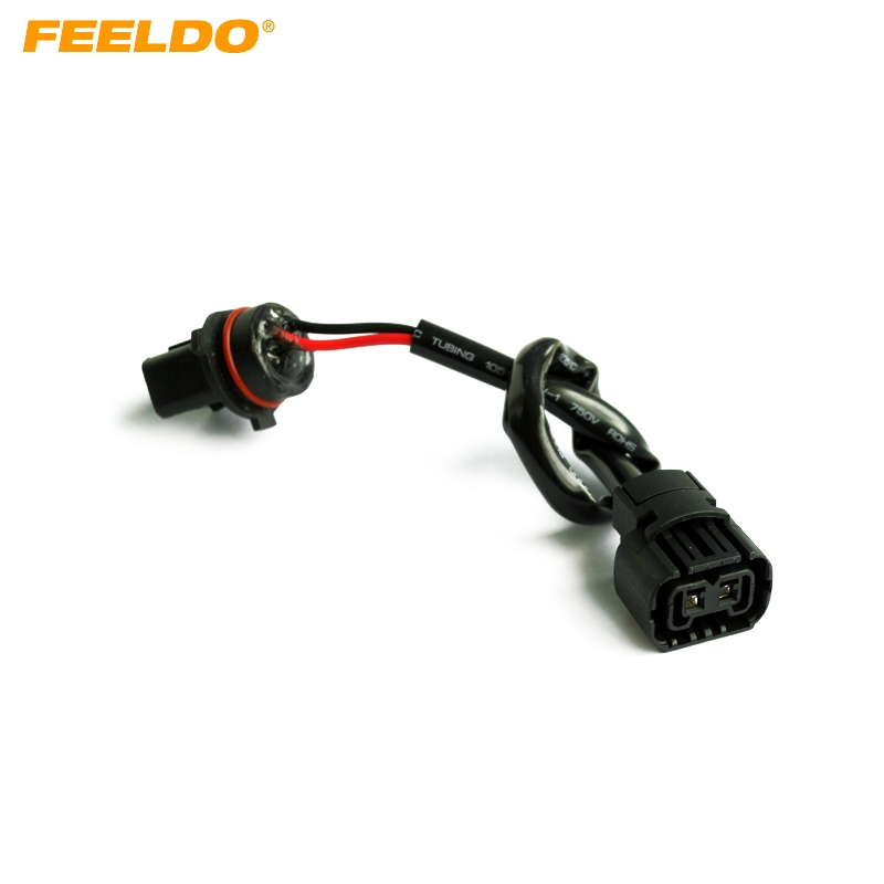 FEELDO Car <font><b>5202</b></font>/<font><b>H16</b></font>/2504/PSX24W Female Socket Connector Adapter To P13W Male Socket With Wire Harness Cable HID/<font><b>LED</b></font> Conversion image