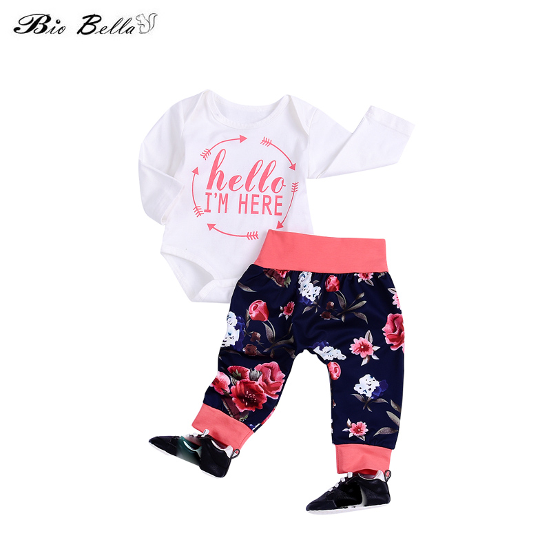 60d0c10e7 Hello I M Here Cartoon New Style Fashion Baby Kids Girls Tops+Pants ...