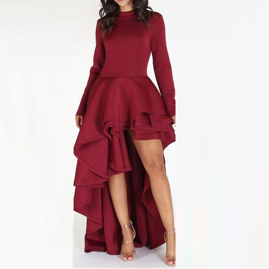 Clocolor Women   Blouse     Shirt   2018 Red Fashion Ruffle Tails Slim Summer Top Asymmetric Falbala Ladies Long Peplum Party   Blouse