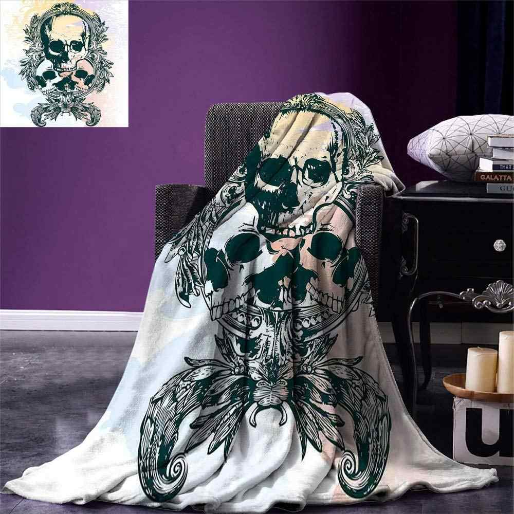 Over Knee High Socks,Scary Deadly Rocker Skeleton Head Trio with Frames from Leaves Image,60CM