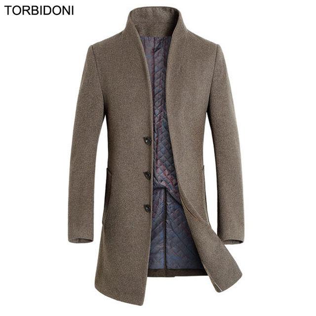 Casaco para Homens Jaqueta Casaco de Lã Roupas de Inverno 2017 Da Moda Novidade Casual Partido Boutique Desgaste Sobretudo Outono Longo Outwear