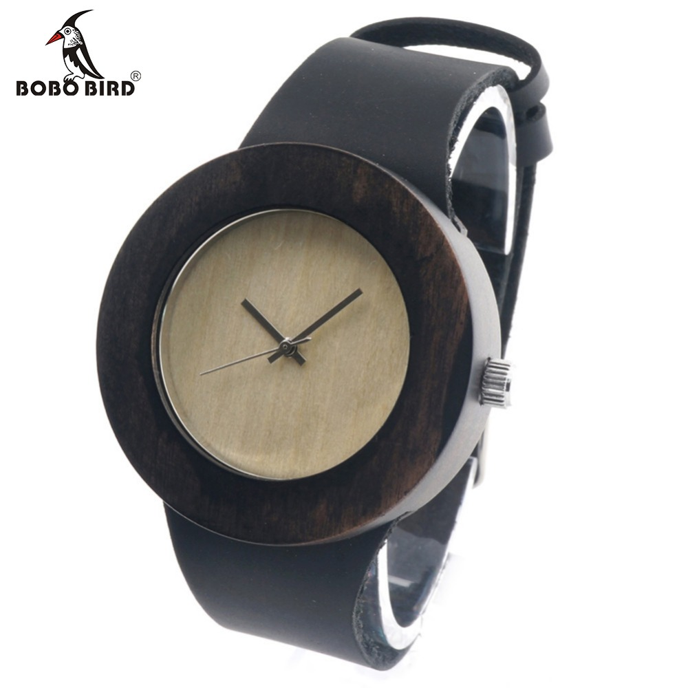 ФОТО BOBO BIRD C08 Hot Wood Watch 2017 Vintage Round Design Wooden Wristwatch Real Cowhide Leather Band Watches Women's Wristwatch