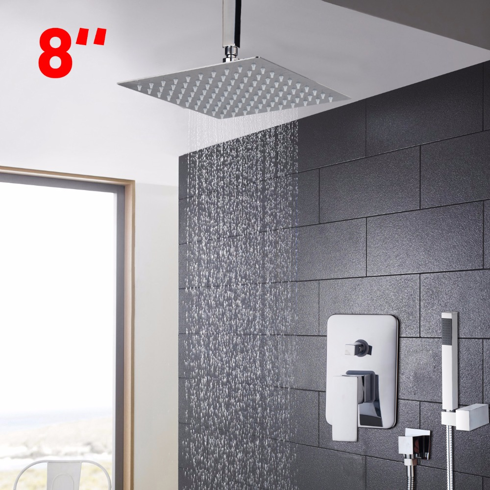 Good Quality Three Color Changing 8 Wall Mount Rainfall Shower Head With Hand Held Shower Set Shower Faucets kemaidi led three color changing rainfall