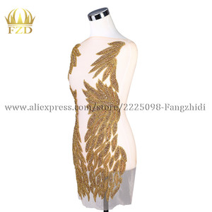 Image 3 - Fzd 1 セットて bodices パッチスパンコール縫製ラインストーンアップリケビーズ結婚式のイブニングドレスの鉄のためのパッチの服