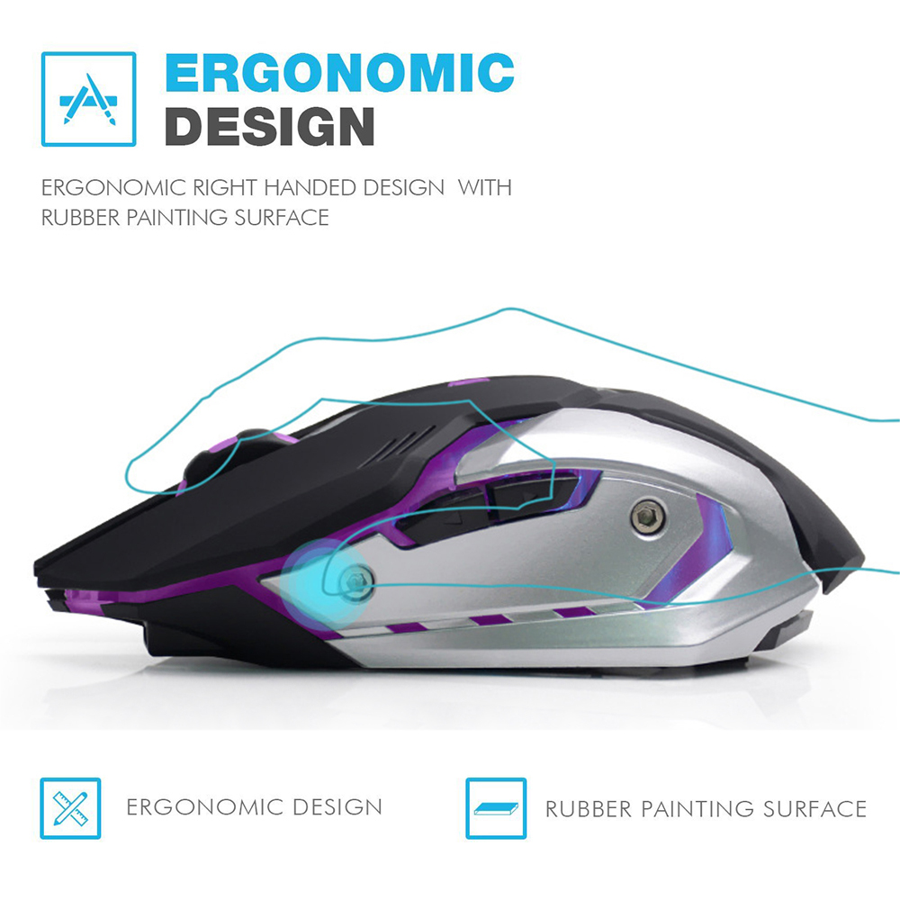 AZZOR Rechargeable Wireless Gaming Mouse 7-color Backlight 4