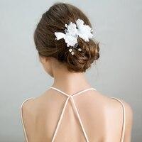 Simulé Perle Perles Barrettes Coiffe Blanc Fil Fleur Pinces À Cheveux Casque Nuptiale De Mariage Décoration Filles Harigrips Cadeaux