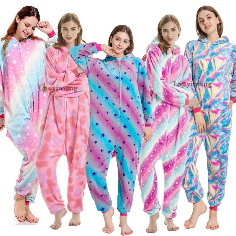 2019 Winter Star Unicorn Pajamas Sets Kugurumi Panda Stich Onesies Adults Cartoon Sleepwear Animal Cosplay Pink Licorne Pyjamas