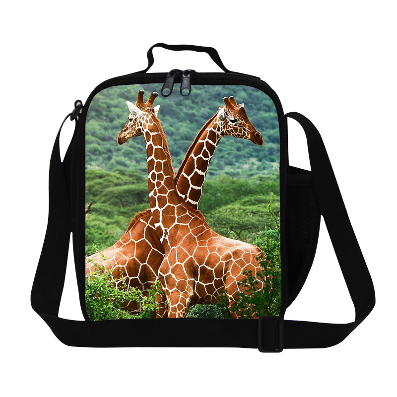 Giraffes New fashion Insulated lunch bag men\'s high quality animal lunch bags for boys cute horse print thermal lunch box bolsa termica