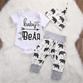 Fashion NoEnName-Null Casual Toddler Girls Boy Baby Bear Romper Tops Pants Hat 3pcs Outfits Set 0-18M Letter