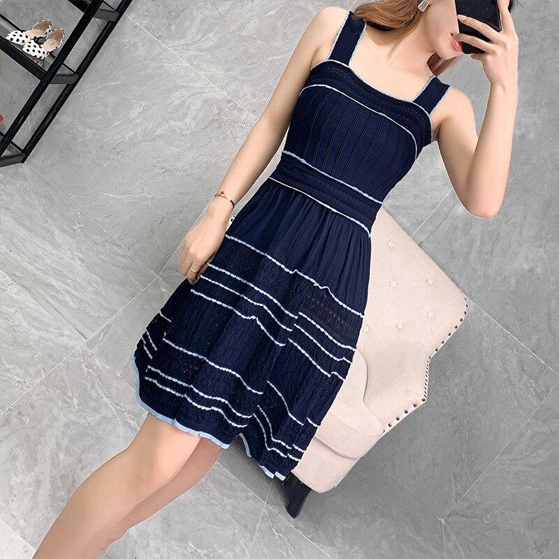 Alta Qualidade Estilo Cinta Vestido 2019 Outono Das Mulheres Bloco de Cor Tricô Sem Mangas Azul Escuro Branco Casual Doce Vestido Bonito Meninas - 4