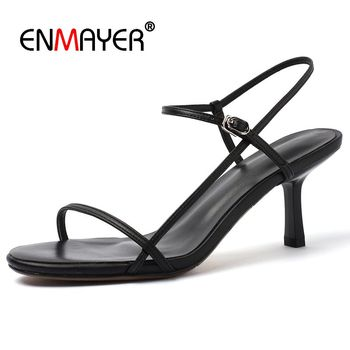 ENMAYER  Genuine Leather  Basic 2019 Summer Fashion High Heel Sandals Party  Solid  Woman Sandals  Summer Size 33-43 LY1514