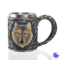 Creative 3D Wolf Head Stainless Steel Mug Cocktail Beer Stein Coffee Tea Cup Halloween Bar Drinkware Gift 550ml