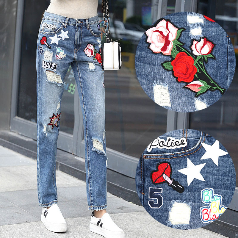 ФОТО 2017 Fashion Embroidered Patch Holes Loose Pants Ripped Jean Woman Casual Printed Women Trousers Scratch Jeans Cross-Pants