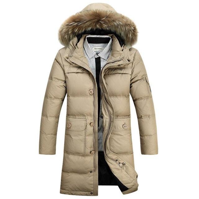 c866a8f6b07611 4XL más tamaño parka hombres invierno parka con capucha de piel de marca a  largo abajo