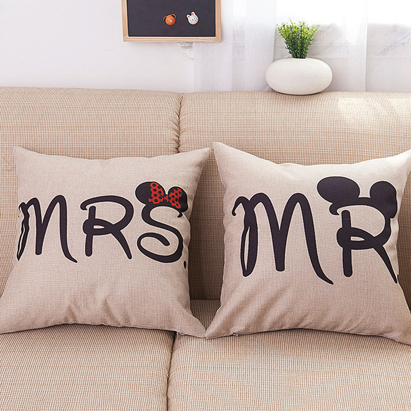 Cotton Linen Cushion Cover Mr & Mrs Mickey Mouse Couple