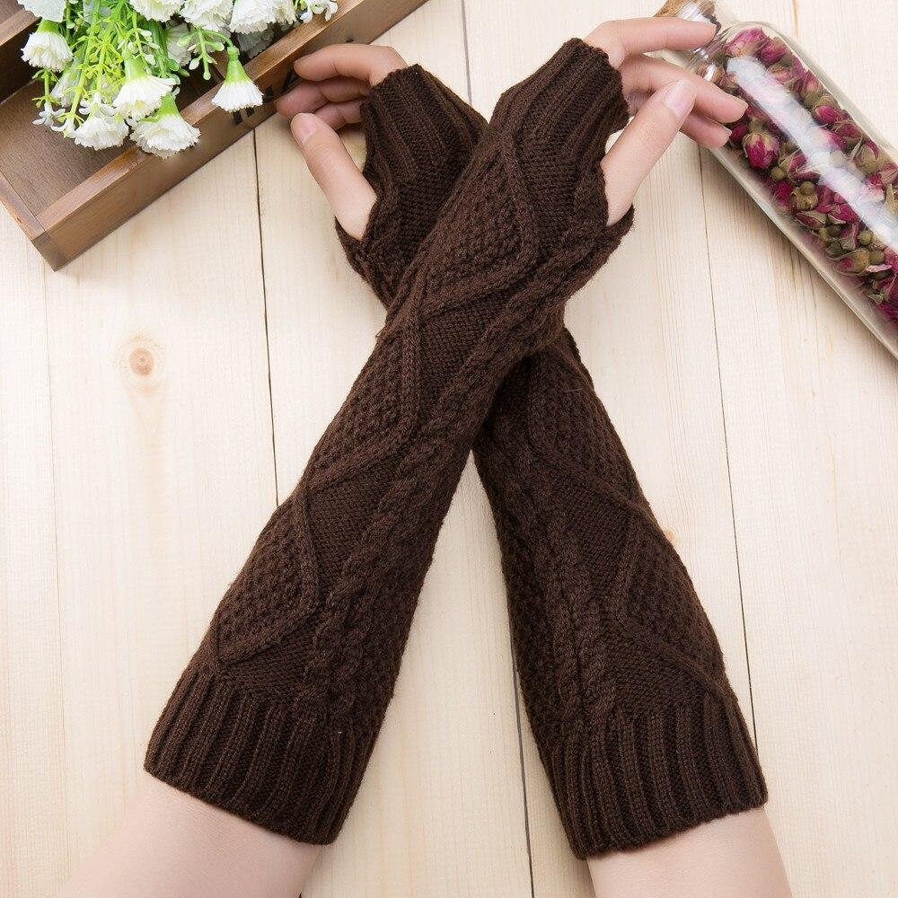 Fashion Unisex Semi-Long Gloves Knitted Fingerless Winter Gloves Soft Mitten Knitting Girl Arm Warmer Soft Long Knit Mitten