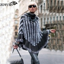 ZDFURS * autumn and winter female fur cape turtleneck knitted rabbit fur shawl fur cloak outerwear rabbit fur poncho ZDKR-165011
