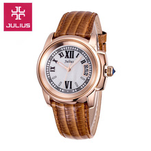 Julius Lady Woman Retro Shell Watch Five colors Japan Quartz Hours Fashion Dress Band Leather Girl