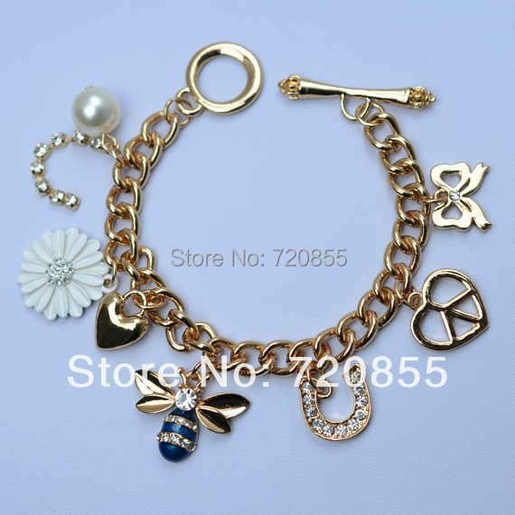 Bees and flowers charm bracelets women,Gold Plated leaves heart of Hand Chain Fashion Jewelry For Teenage girls,gold jewellry