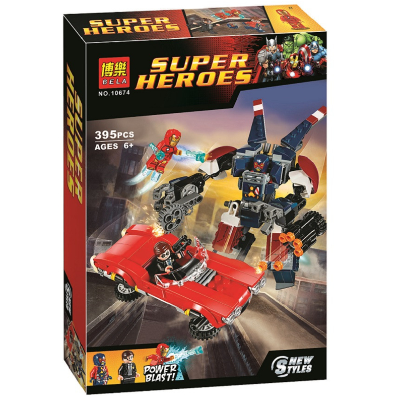 BELA Batman Super Heroes Iron Man Detroit Steel Slår Building Blocks - Konstruktionslegetøj - Foto 4