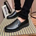 2016 Del Otoño Del Resorte Hombres zapatos Planos ocasionales de Cuero de LA PU Sólida Manera caliente de Los hombres se Deslizan en los Holgazanes De Goma Inferior Suave Transpirable Z149
