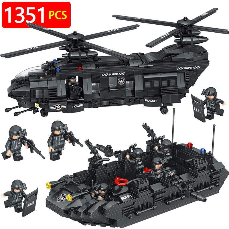 New Technic Compatible LegoINGLYS Swat Team City Police Transport Helicopter Large Building Blocks Sets Gift Toys For Children military city police swat team army soldiers with weapons ww2 building blocks toys for children gift