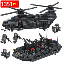 New Technic Compatible LegoINGLYS Swat Team City Police Transport Helicopter Large Building Blocks Sets Gift Toys