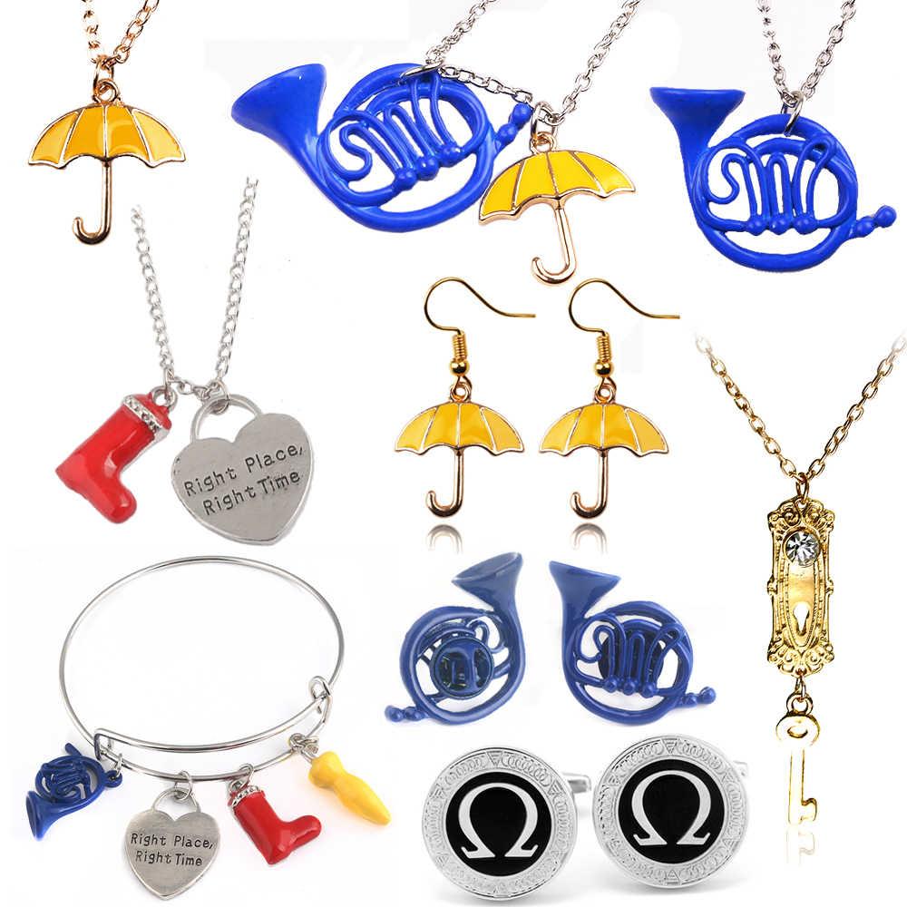 Sg Bagaimana Aku Bertemu Ibumu Kalung Blue Bahasa Perancis Horn & Kuning Payung dengan Link Rantai Perak Alice In Wonderland gadis Kalung