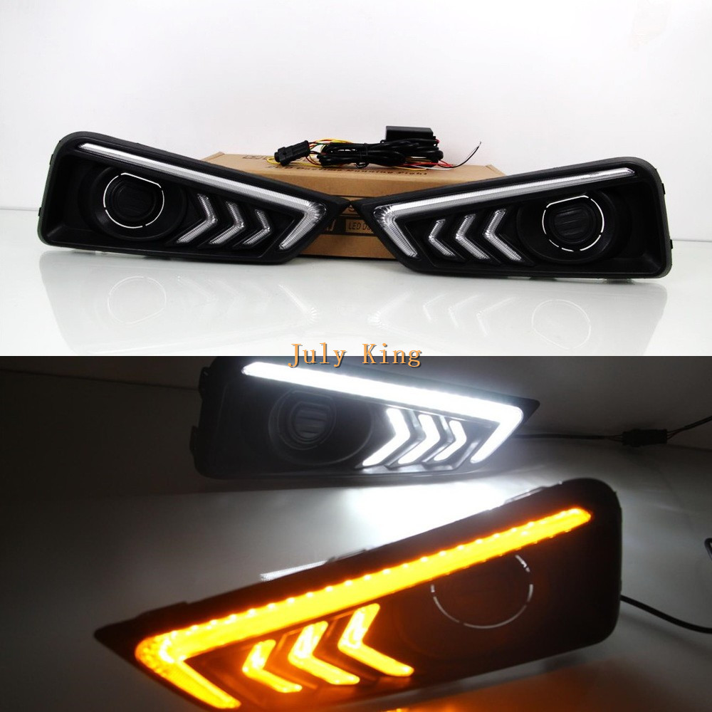 July King LED Daytime Running Lights Case For Honda City 2015~2017, LED Front Bumper DRL With Yellow Turn Signal Lights, B type july king led daytime running lights 6500k 18w led fog lamps case for honda crv fit city crosstour everus and acura 2013 on etc